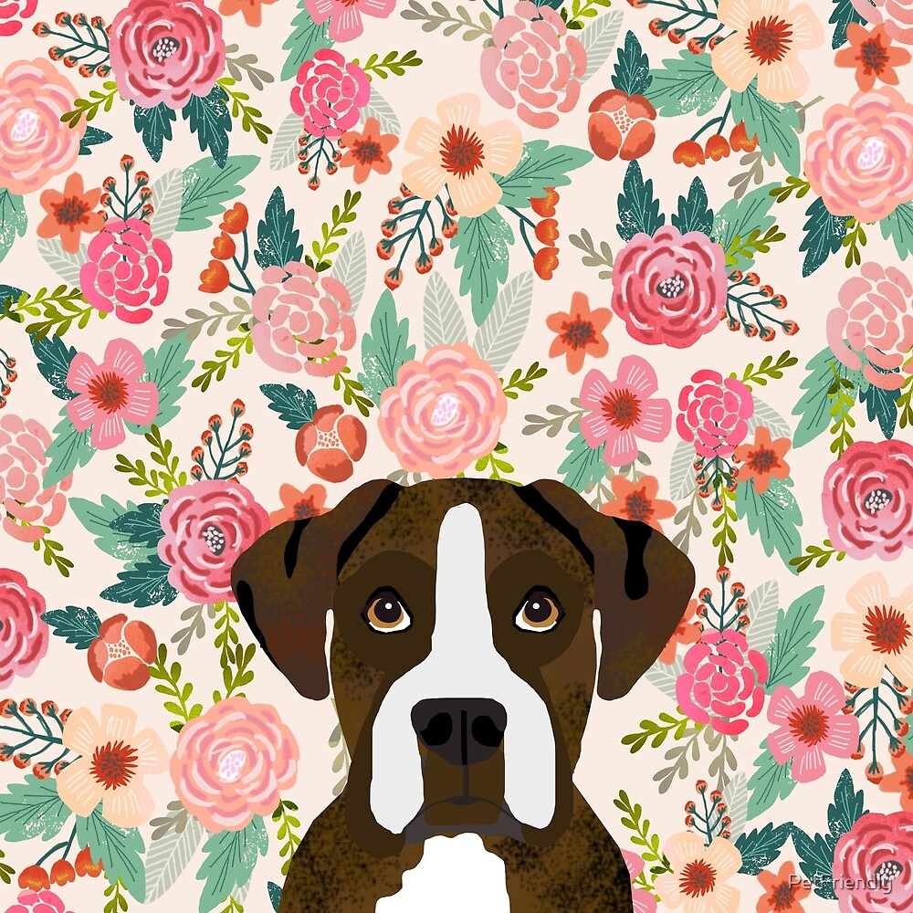 Boxer Dog Breed Floral Pattern Background Pet Gifts Dog Breed Dog