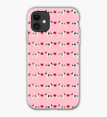 Rat Terrier love hearts dog breed pet art dog pattern gifts unique pure breed iPhone Case