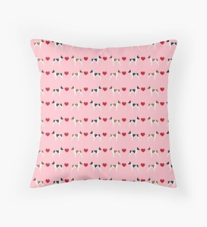 Rat Terrier love hearts dog breed pet art dog pattern gifts unique pure breed Throw Pillow