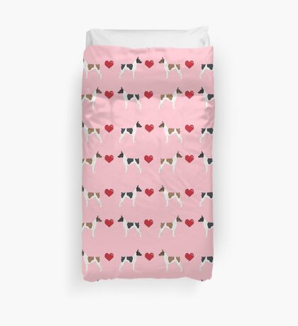Rat Terrier love hearts dog breed pet art dog pattern gifts unique pure breed Duvet Cover