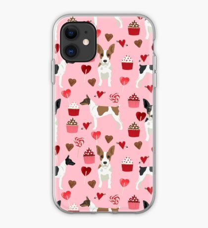 Rat Terrier valentines day cupcakes love hearts dog breed pet art dog pattern gifts unique pure breed iPhone Case