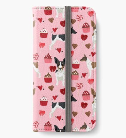 Rat Terrier valentines day cupcakes love hearts dog breed pet art dog pattern gifts unique pure breed iPhone Wallet