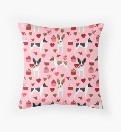 Rat Terrier valentines day cupcakes love hearts dog breed pet art dog pattern gifts unique pure breed Floor Pillow