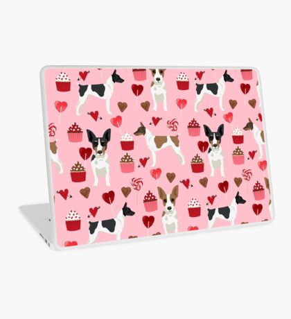 Rat Terrier valentines day cupcakes love hearts dog breed pet art dog pattern gifts unique pure breed Laptop Skin