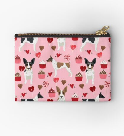 Rat Terrier valentines day cupcakes love hearts dog breed pet art dog pattern gifts unique pure breed Zipper Pouch