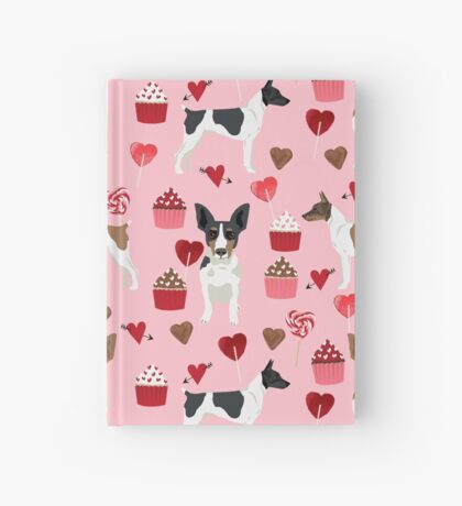 Rat Terrier valentines day cupcakes love hearts dog breed pet art dog pattern gifts unique pure breed Hardcover Journal