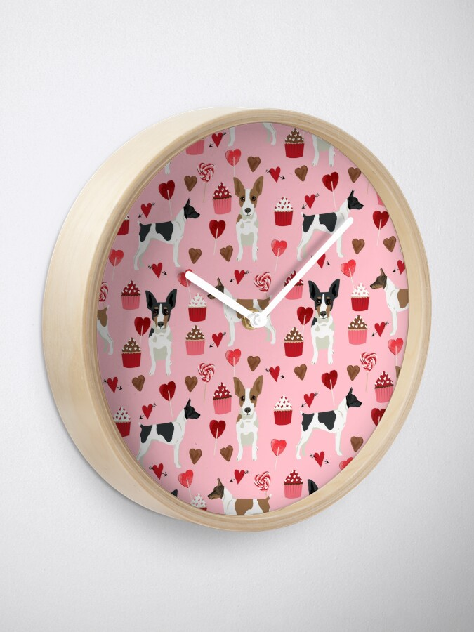 Alternate view of Rat Terrier valentines day cupcakes love hearts dog breed pet art dog pattern gifts unique pure breed Clock
