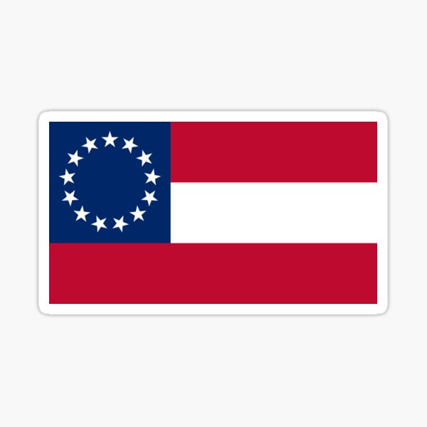 Flag of the Confederate States of America. 13 stars. November 28, 1861 to May 1, 1863. Sticker