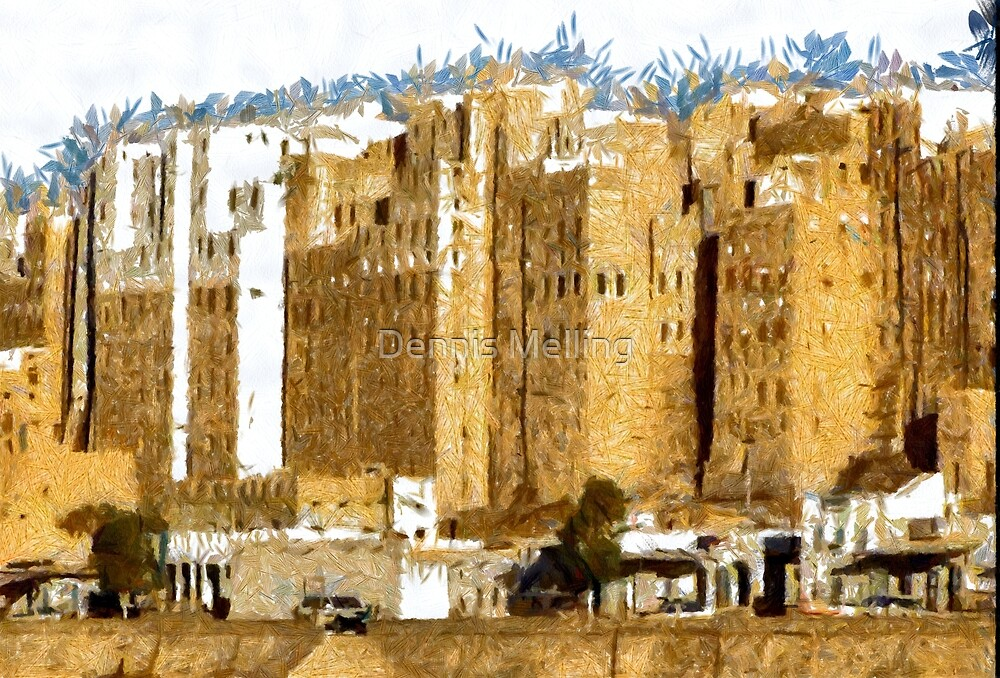 """""""The Oldest Skyscraper City in the World"""" , Shibam, Yemen in existence for 1,700 years by Dennis Melling"""