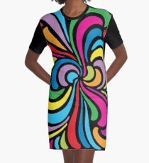 Psychedelic Hippie Abstract Swirl Pattern Graphic T-Shirt Dress