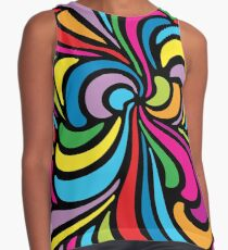 Psychedelic Hippie Abstract Swirl Pattern Contrast Tank