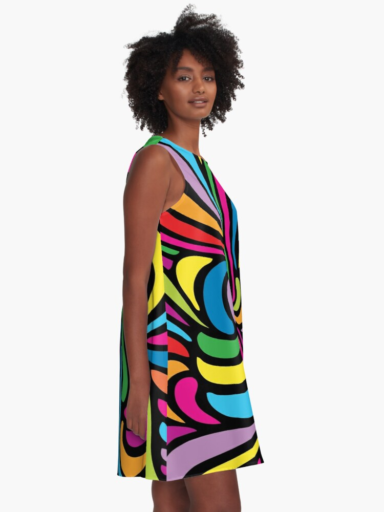 Alternate view of Psychedelic Hippie Abstract Swirl Pattern A-Line Dress
