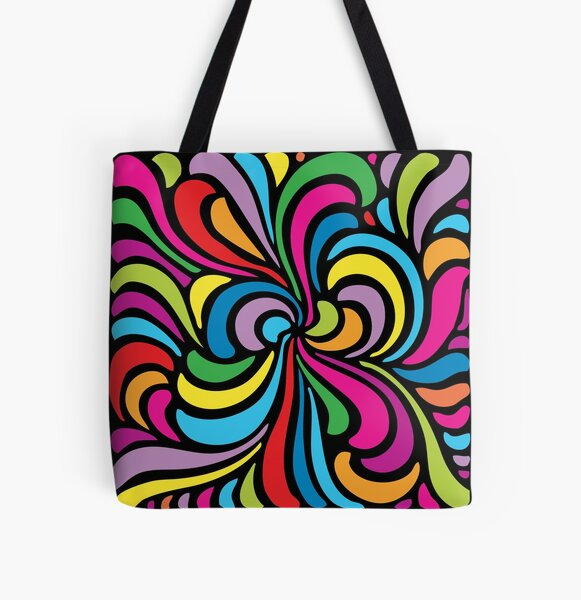 Psychedelic Hippie Abstract Swirl Pattern All Over Print Tote Bag