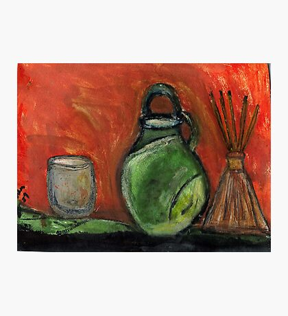 Study: Candle holder,Green Vase & Glass Air Diffuser Photographic Print