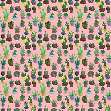 Succulents and Cacti pink salmon by Bantambb