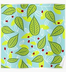 Turquoise leafy pattern Poster