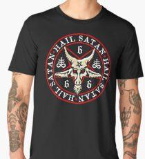 Hail Satan Baphomet in Occult Inverted Pentagram Men's Premium T-Shirt