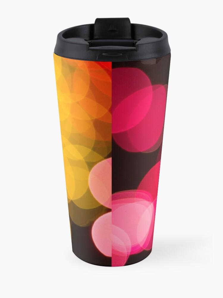 Alternate view of Bokeh abstract pink yellow circles Travel Mug