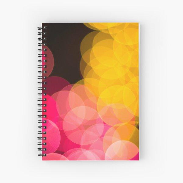 Bokeh abstract pink yellow circles Spiral Notebook
