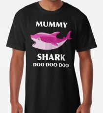 Mummy Shark Mom Shark Swimming Shark Art Print Shark Lover Mom Mother Gift Long T-Shirt