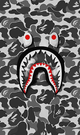 Bape shark army posters by joh2scott redbubble - Camo shark wallpaper ...
