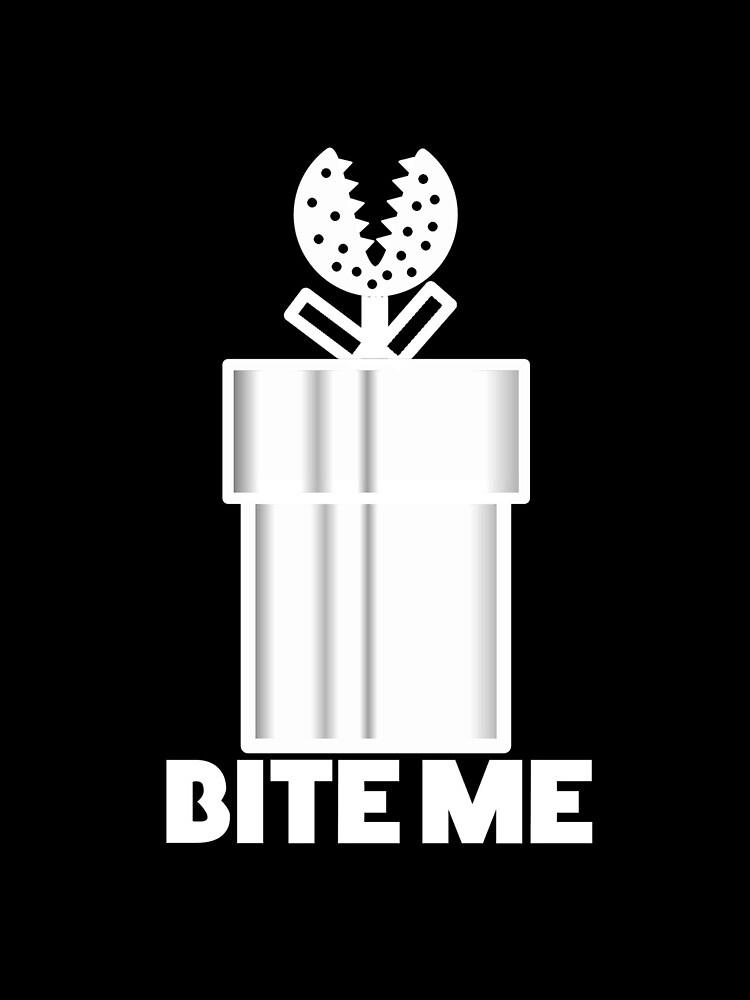 Piranha Plant Bite Me Video Gamer Shirt by thedangernoodle