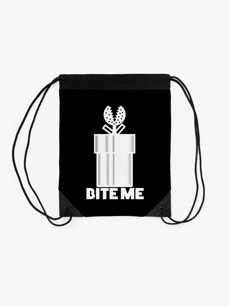 Alternate view of Piranha Plant Bite Me Video Gamer Shirt Drawstring Bag