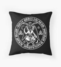 Baphomet & Satanic Crosses with Hail Satan Inscription Throw Pillow