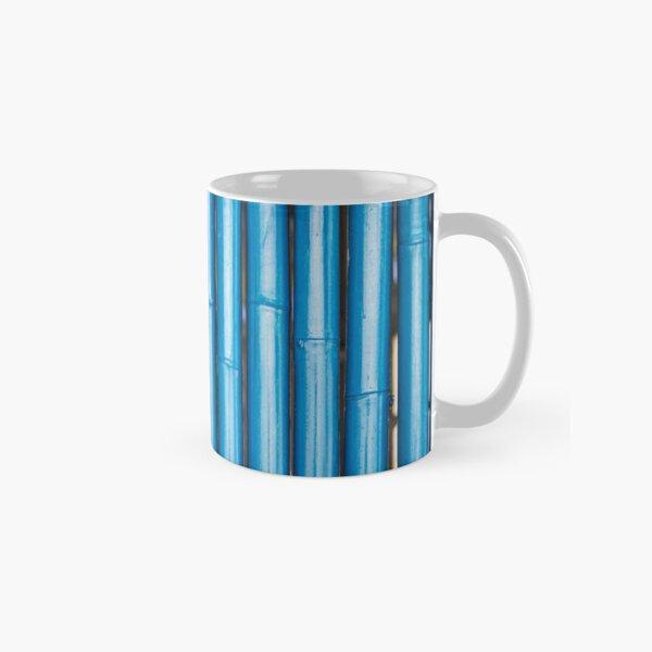 Blue bamboo canes background Classic Mug
