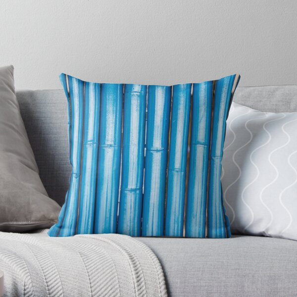 Blue bamboo canes background Throw Pillow