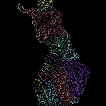 River basins of Finland in rainbow colours by GrasshopperGeo