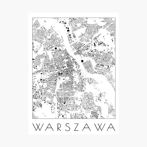 Warsaw city Schwarzplan Map Photographic Print