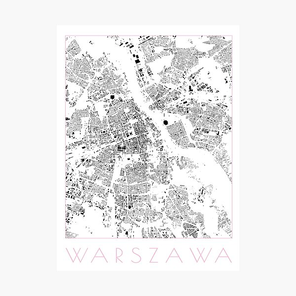 Warsaw Schwarzplan Map Photographic Print