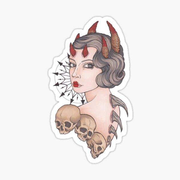 Mujer Demonio, cráneos. Pegatina