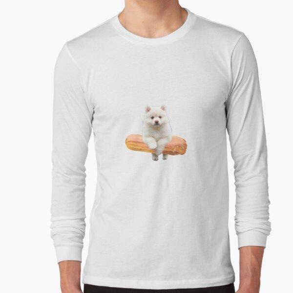 Cute Alaskan Malamute Dog jumping an éclair by Alice Monber Long Sleeve T-Shirt