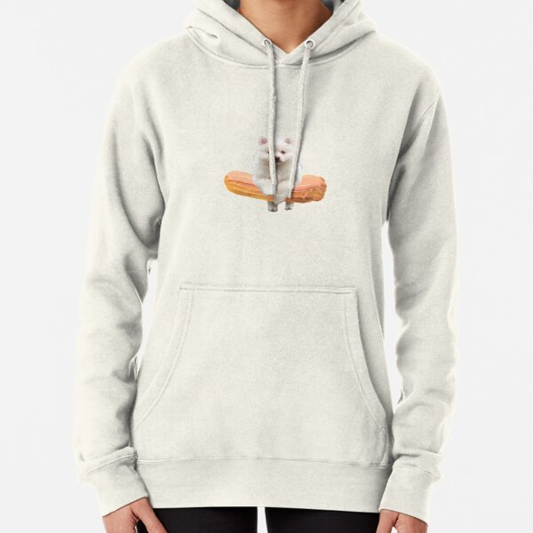 Cute Alaskan Malamute Dog jumping an éclair by Alice Monber Pullover Hoodie