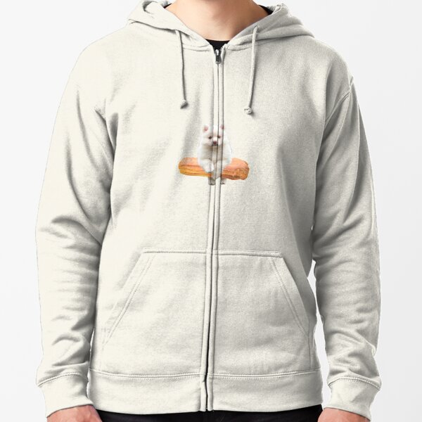 Cute Alaskan Malamute Dog jumping an éclair by Alice Monber Zipped Hoodie