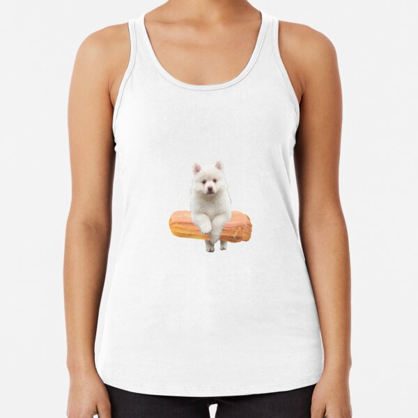 Cute Alaskan Malamute Dog jumping an éclair by Alice Monber Racerback Tank Top