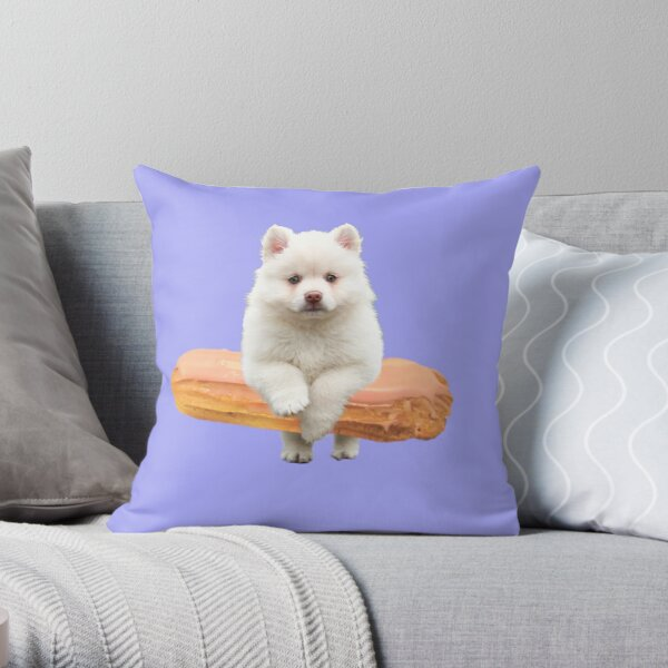 Cute Alaskan Malamute Dog jumping an éclair by Alice Monber Throw Pillow
