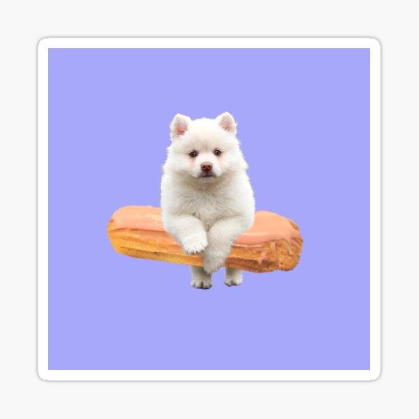Cute Alaskan Malamute Dog jumping an éclair by Alice Monber Sticker