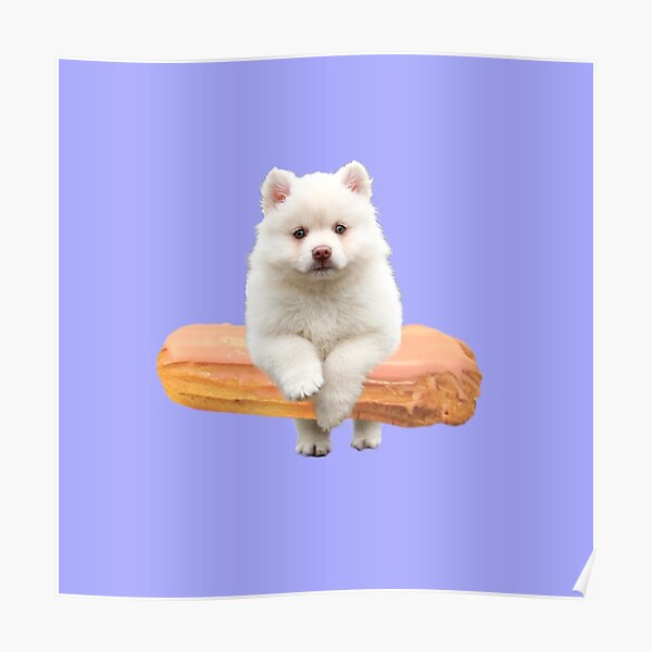 Cute Alaskan Malamute Dog jumping an éclair by Alice Monber Poster