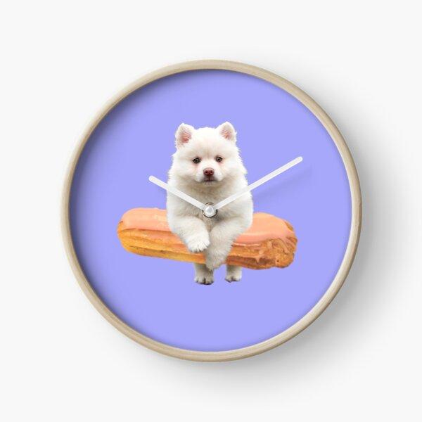 Cute Alaskan Malamute Dog jumping an éclair by Alice Monber Clock