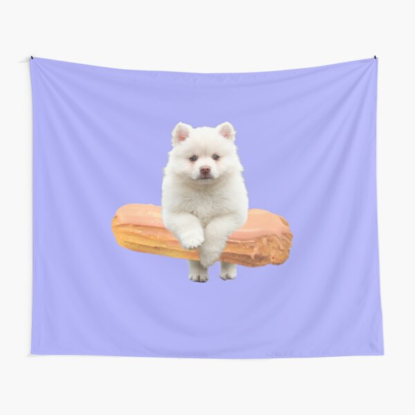 Cute Alaskan Malamute Dog jumping an éclair by Alice Monber Tapestry