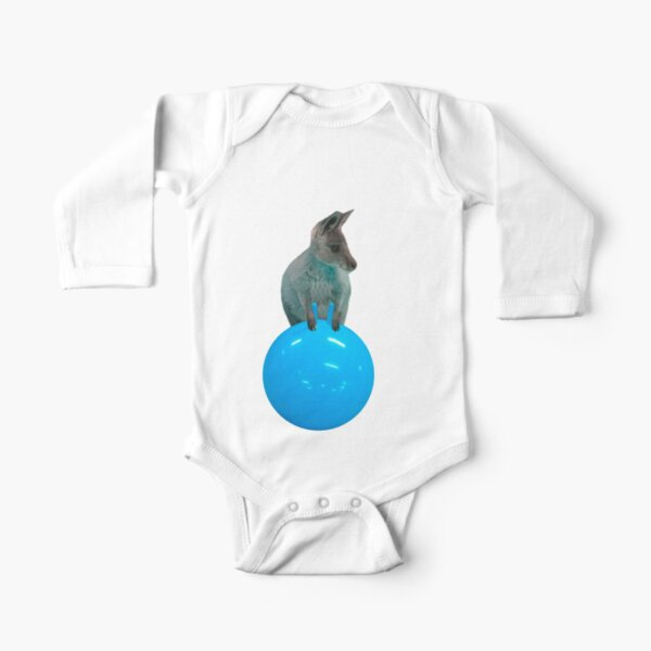 Cute kangaroo with a bouncy jumping hopping ball by Alice Monber Long Sleeve Baby One-Piece