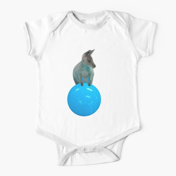 Cute kangaroo with a bouncy jumping hopping ball by Alice Monber Short Sleeve Baby One-Piece