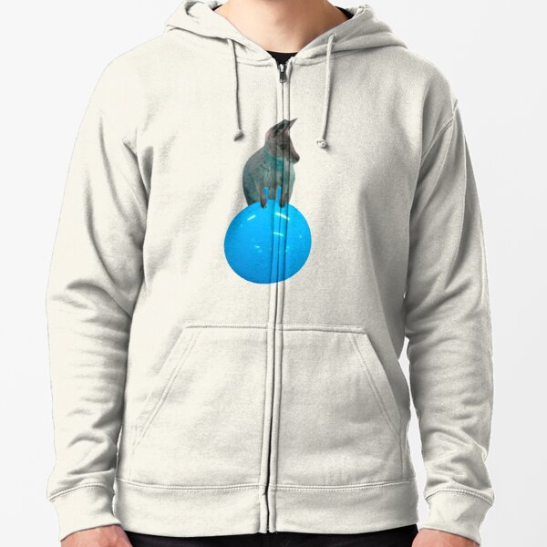 Cute kangaroo with a bouncy jumping hopping ball by Alice Monber Zipped Hoodie