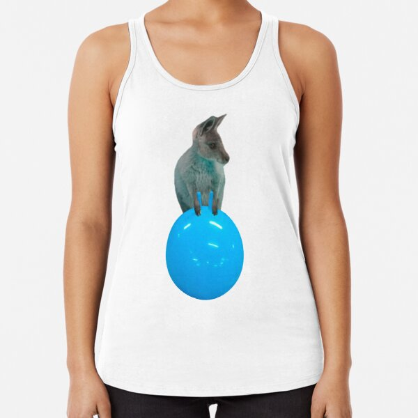 Cute kangaroo with a bouncy jumping hopping ball by Alice Monber Racerback Tank Top