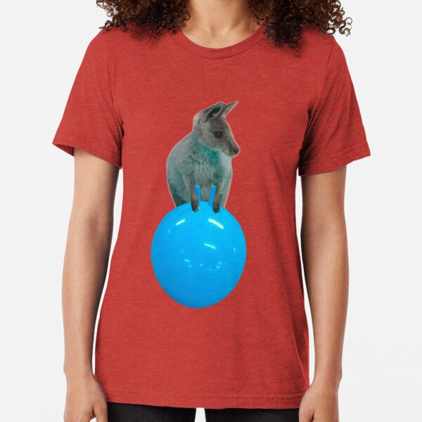 Cute kangaroo with a bouncy jumping hopping ball by Alice Monber Tri-blend T-Shirt