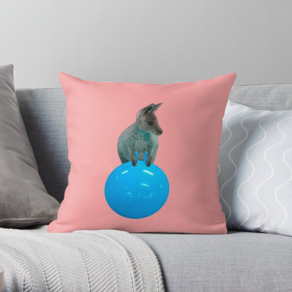Cute kangaroo with a bouncy jumping hopping ball by Alice Monber Throw Pillow