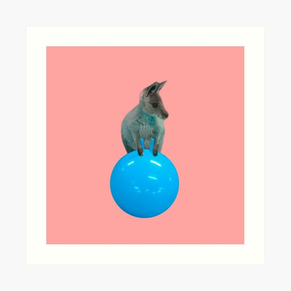 Cute kangaroo with a bouncy jumping hopping ball by Alice Monber Art Print